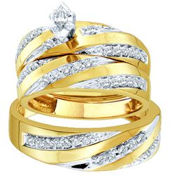 0.75 CTW Marquise Diamond Mens Matching Trio Bridal Ring 10K Yellow Gold