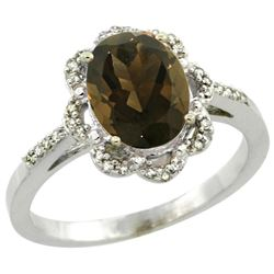 Natural 1.85 ctw Smoky-topaz & Diamond Engagement Ring 14K White Gold - REF-38V6F