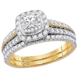 1 CTW Princess Natural Diamond Certified Milgrain Halo Bridal Engagement Ring 14K Yellow Gold
