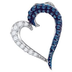 0.25 CTW Blue Colored Diamond Heart Love Pendant 10K White Gold