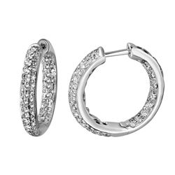 Genuine 1.08 TCW 18K White Gold Ladies Earring - REF-115K8R