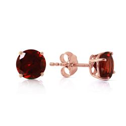 Genuine 0.95 ctw Garnet Earrings Jewelry 14KT Rose Gold - REF-17N3R