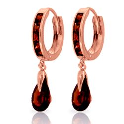 Genuine 4.3 ctw Garnet Earrings Jewelry 14KT Rose Gold - REF-53T8A