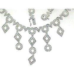 14K White Gold 6.97CTW Diamond Necklace - REF-793X8Y