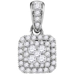 0.5 CTW Natural Diamond Square Cluster Pendant 14K White Gold