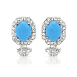 14KWhite Gold 4.56CTW Turquoise & Diamond Earring - REF-108A2N