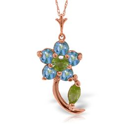 Genuine 0.87 ctw Blue Topaz & Peridot Necklace Jewelry 14KT Rose Gold - REF-25F4Z