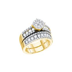 1.71 CTW Princess Natural Diamond Soleil Bridal Engagement Ring 14K Yellow Gold
