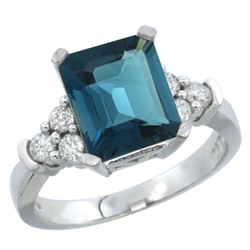 Natural 2.86 ctw london-blue-topaz & Diamond Engagement Ring 14K White Gold - REF-66A2V
