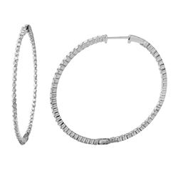 14K White Gold 2.44CTW Diamond Hoop Earring - REF-200F5M