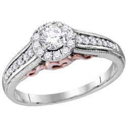 0.51 CTW Natural Diamond Solitaire Bridal Engagement Ring 14K White Gold
