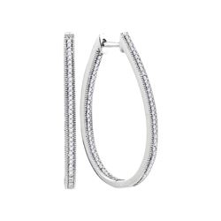 0.5 CTW Natural Diamond Hoop Earrings 10K White Gold