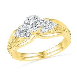 0.33 CTW Natural Diamond Cluster Bridal Engagement Ring 10K Yellow Gold