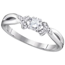 0.33 CTW Natural Diamond Solitaire Bridal Anniversary Ring 10K White Gold
