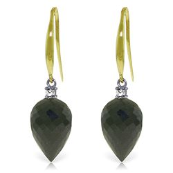 Genuine 24.6 ctw Black Spinel & Diamond Earrings Jewelry 14KT Yellow Gold - REF-39P3H