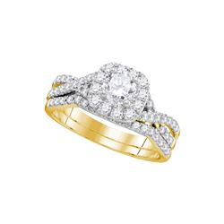 1 CTW Natural Diamond Halo Bridal Engagement Ring 14K Yellow Gold