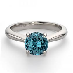 14K White Gold Jewelry 1.52 ctw Blue Diamond Solitaire Ring - REF#263H5T-WJ13240