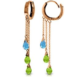 Genuine 4.8 ctw Multi-gemstones Earrings Jewelry 14KT Rose Gold - REF-64V4W