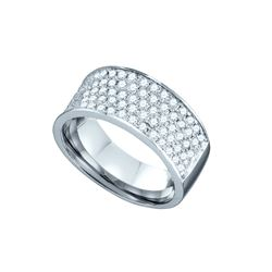 1 CTW Pave-set Natural Diamond Band 10K White Gold