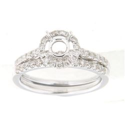 14K White Gold 0.56CTW Diamond Wedding Ring Set - REF-86F6M