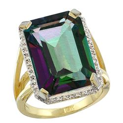 Natural 13.72 ctw Mystic-topaz & Diamond Engagement Ring 14K Yellow Gold - REF-81V3F