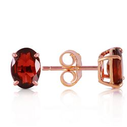 Genuine 1.80 ctw Garnet Earrings Jewelry 14KT Rose Gold - REF-16K3V