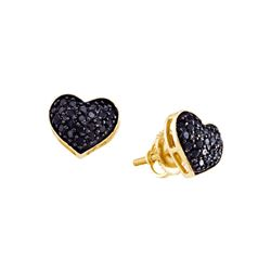 0.4 CTW Black Colored Diamond Pave Cluster Screwback Stud Heart Fine Earrings 14K Yellow Gold