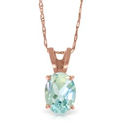 Genuine 0.75 ctw Aquamarine Necklace Jewelry 14KT Rose Gold - REF-17Z6N