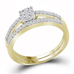 0.33 CTW Natural Diamond Slender Cluster Bridal Engagement Ring 10K Yellow Gold
