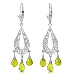 Genuine 3.75 ctw Peridot Earrings Jewelry 14KT White Gold - REF-45R8P