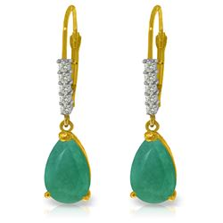 Genuine 2.15 ctw Emerald & Diamond Earrings Jewelry 14KT Yellow Gold - REF-59Z6N