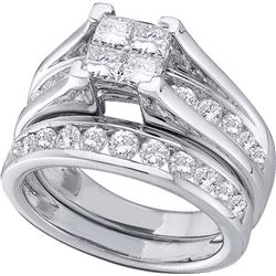2 CTW Princess Natural Diamond Bridal Ring 14K White Gold