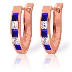 Genuine 1.26 ctw Sapphire & White Topaz Earrings Jewelry 14KT Rose Gold - REF-26H2X
