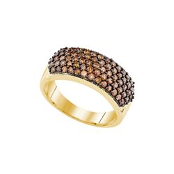 1 CTW Cognac-brown Colored Diamond Cocktail Ring 10K Yellow Gold