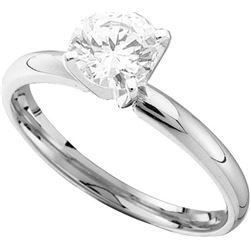 0.7 CTW Natural Diamond Solitaire Bridal Engagement Ring 14K White Gold