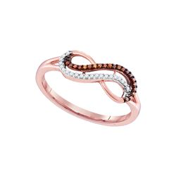 0.1 CTW Red Colored Diamond Infinity Ring 10K Rose Gold