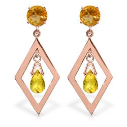 Genuine 2.4 ctw Citrine Earrings Jewelry 14KT Rose Gold - REF-39X3M