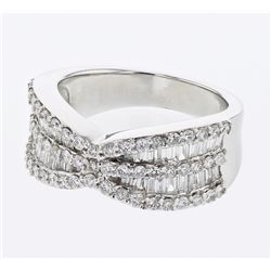 Baguette & Round Channel & Prong-set Diamond Ring in 18K White Gold - REF-238R7K