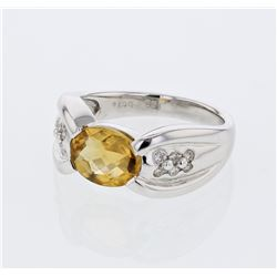Oval Citrine Antique Diamond Cocktail Ring in 14K White Gold - REF-46H2W