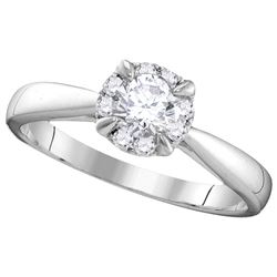 0.52 CTW Natural Certified Diamond Bridal Engagement Anniversary Ring 14K White Gold