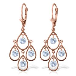 Genuine 2.4 ctw Aquamarine Earrings Jewelry 14KT Rose Gold - REF-61Z6N