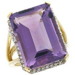 Natural 15.06 ctw amethyst & Diamond Engagement Ring 14K Yellow Gold - REF-81M9H