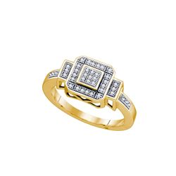 0.12 CTW Natural Diamond Square Cluster Ring 10K Yellow Gold
