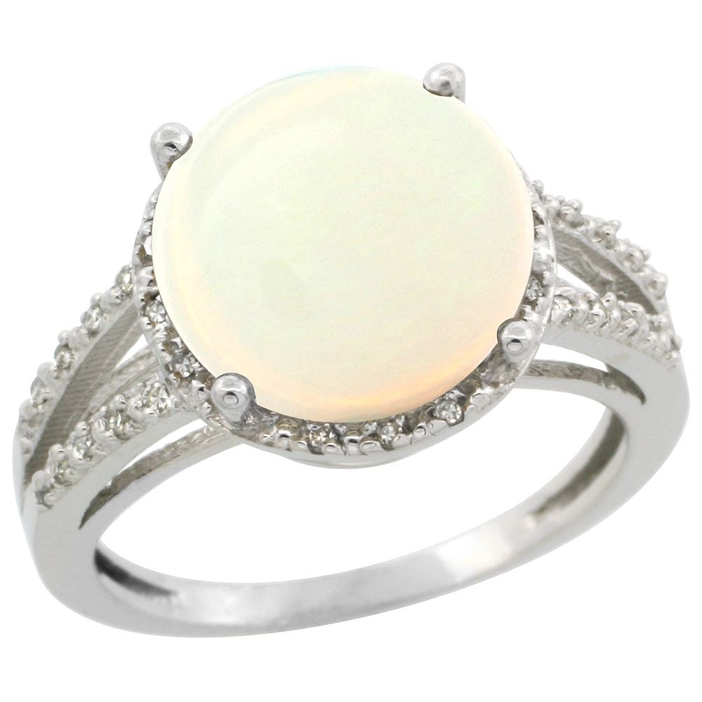 Natural 5 34 ctw Opal & Diamond Engagement Ring 10K White Gold REF 37H4W