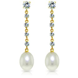 Genuine 10 ctw Aquamarine & Pearl Earrings Jewelry 14KT Yellow Gold - REF-38V2W