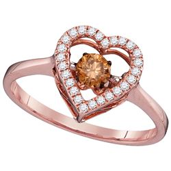 0.38 CTW Cognac-brown Colored Diamond Moving Twinkle Solitaire Ring 10K Rose Gold
