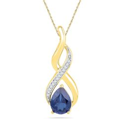 1.80 CTW Pear Lab-Created Blue Sapphire Solitaire Diamond Pendant 10K Yellow Gold