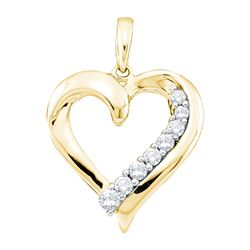 0.24 CTW Natural Diamond Heart Love Pendant 14K Yellow Gold