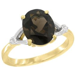 Natural 2.41 ctw Smoky-topaz & Diamond Engagement Ring 10K Yellow Gold - REF-24K6R