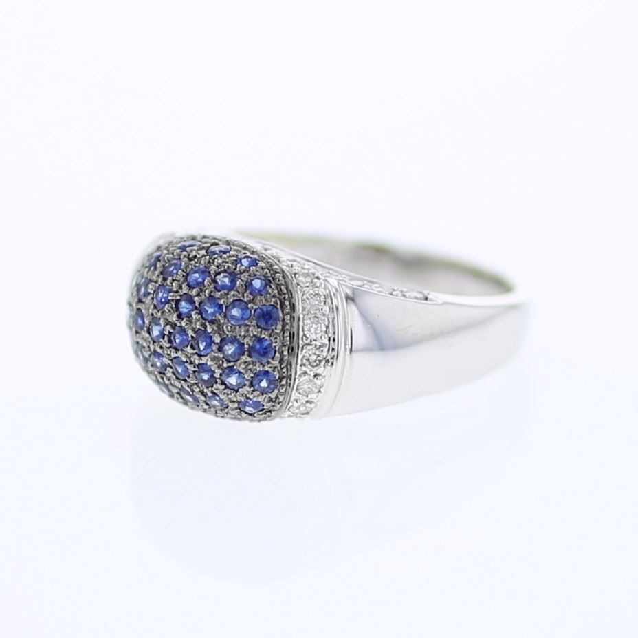Dome Shaped Bands: Dome-shaped Pave-set W/ Blue Sapphire Diamond Ring In 14K